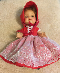 7-Pc-Lot-Vintage-Ideal-Baby-Toddler-Drinking-Doll-Red-Dress-READ-DESCRIPTION