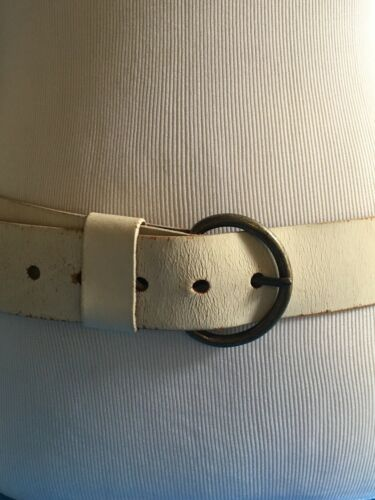 Vintage 1970's HIP Hugger WIDE White Leather BELT