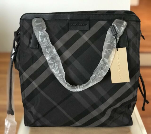 Nwt Auth Burberry Nylon Nova Check Packable Charcoal Purse Tote Bag 575