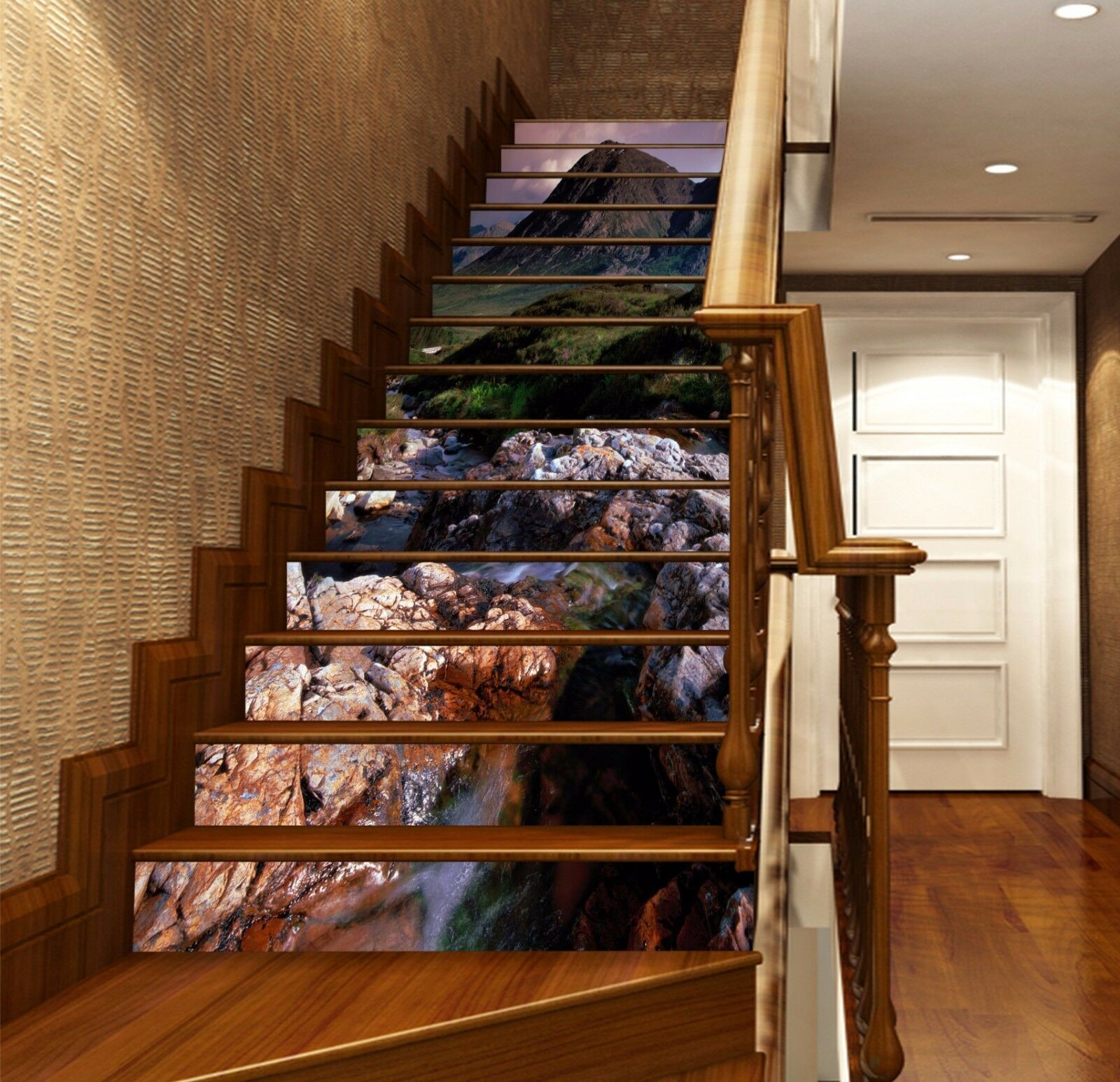 3D Cliff Brook  567 Stair Risers Decoration Photo Mural Vinyl Decal Wallpaper AU