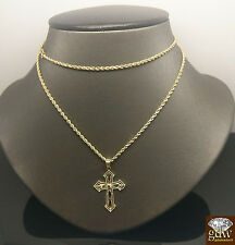"10k Yellow Gold 2mm Rope Chain 24""  &Diamond Cuts Cross 1.2"" Cross Charm pendent"