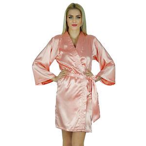 e7033990ef Bimba Women Short Satin Getting Ready Peach Robe Bridesmaid Kimono ...