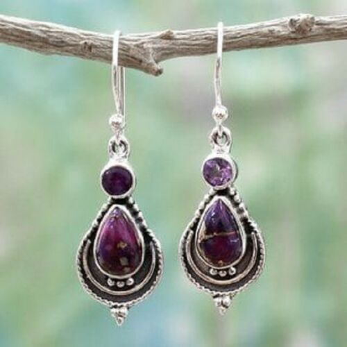 Argent 925 Longues Vintage Violet Lilas Améthyste Handcrafted Dangle Boucle d/'oreille Bijoux