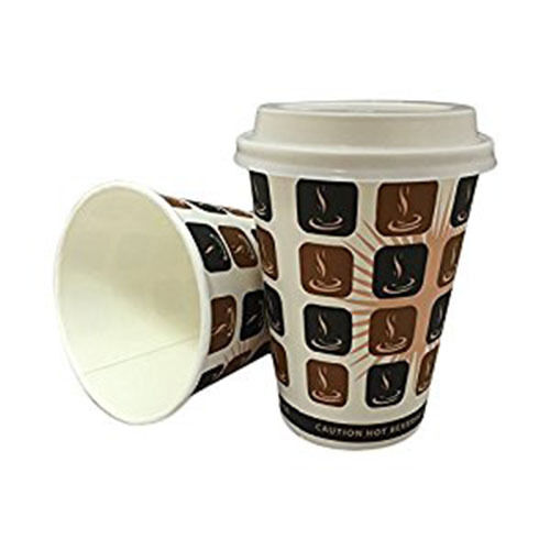 1000 x 10oz Mocha Cafe Coffee Cups Paper Single Wall Disposable + Weiß Lids