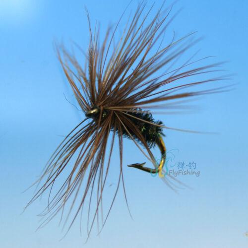 12 PCS Brown Green Emerger Nypmh Trout Flies fly fishing #14 W// Free Box D516
