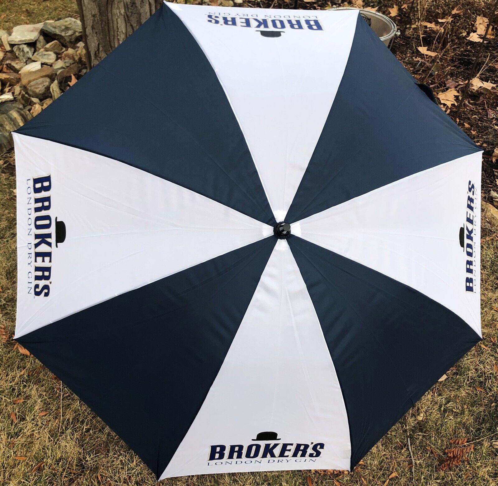 "*New* Broker's London Dry Gin Rain Essentials Manual Open 52"" Classic Umbrella"