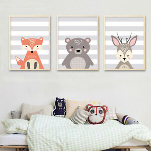Image Is Loading Woodland Animal Fox Bear Canvas Poster Nursery Wall