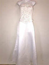 ALFRED ANGELO WOMENS LADIES LINED IVORY SATIN BEADED STRAPLESS WEDDING DRESS ~ 4