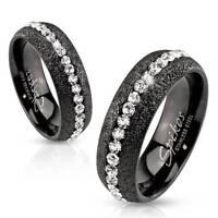 Mens Womens Black Eternity Simulated Diamond Ring Size 5 6 7 8 9 10 11 12 13