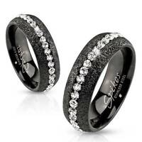 Mens Womens Black Eternity Simulated Diamond Ring Size 5 6 7 8 9 10 11 12 13