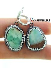 TURKISH HANDMADE DRUZY JEWELRY 925 STERLING SILVER AMAZONITE DROP EARRINGS VK37