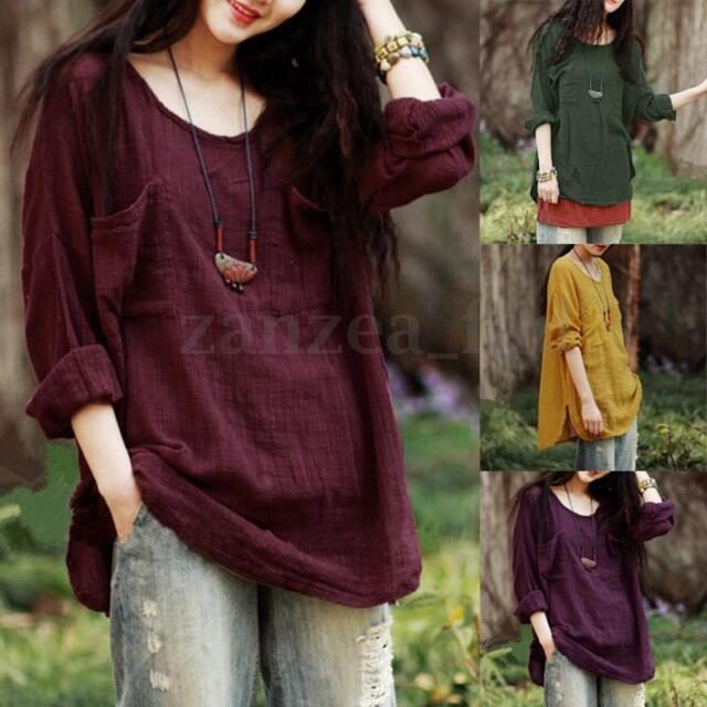 Vintage Women Oversize Long Sleeve Cotton Loose Casual Tops Blouse T-Shirt Plus