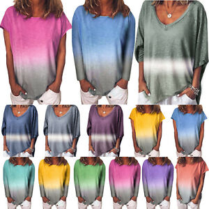 Womens-Gradient-Tunic-T-Shirt-Tops-Casual-Long-Sleeve-Loose-Blouse-Jumper-Shirts