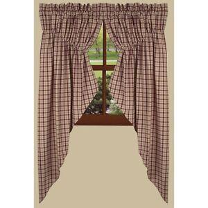 lined prairie swag curtains 72 w x 63 l salem barn red plaid cotton ebay. Black Bedroom Furniture Sets. Home Design Ideas