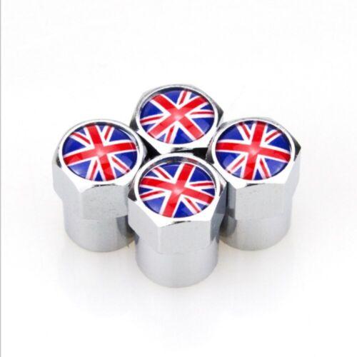 Válvula de Aire Neumático Rueda de Coche 4 un Tapas de polvo Bandera británica Union Jack. tallo Reino Unido Bandera
