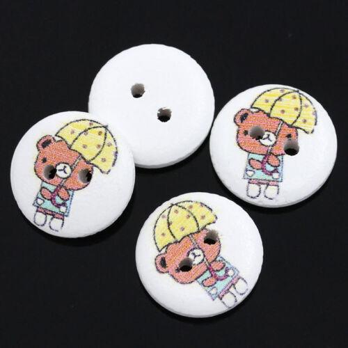 15 mm. El botón del grano y-Caja de 10 Botones Madera Oso de Peluche con paraguas