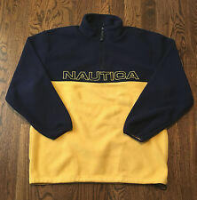 Nautica Fleece Jacket Large Spellout Yellow Blue Warm