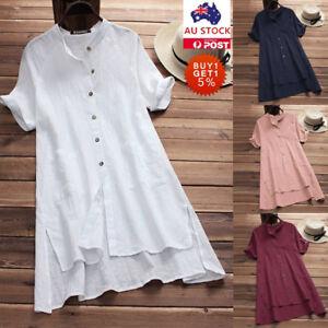 Plus-Size-Women-Cotton-Shirt-Baggy-Loose-Tops-Ladies-Casual-Button-Tunic-Blouse
