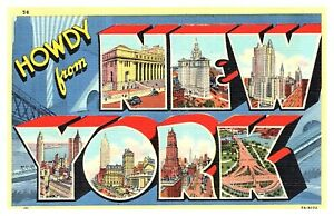 1930s-Howdy-New-York-Large-Letter-Multiview-Mainzer-Linen-Unposted-Postcard-F6