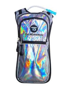Rave Hydration Pack Water Backpack 2L Bladder BLACK LIGHT REACTIVE NEON GLITTER