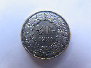 1920 B SWITZERLAND SILVER 1/2 FRANC in EXCELLENT COLLECTABLE CONDITION
