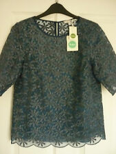 BODEN METALLIC ORGANZA TOP BLUE/SILVER FLORAL. UK 10, EUR 36-38, US 6 BNWT WA528