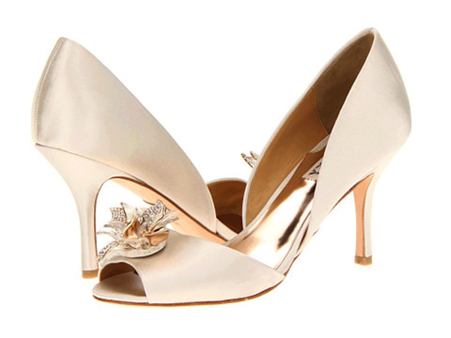 Badgley Mischka Clarissa D'orsay open toe pump heel sandals shoes 10 Ivory NIB