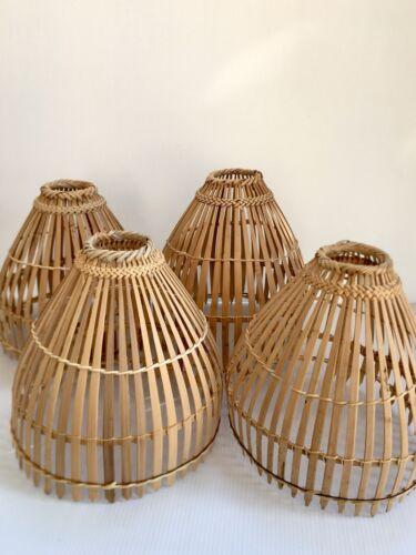 2Pcs Small Bamboo Cage Coop Bird Play Tool Rattan Plait Garden Decor Lamp Shade