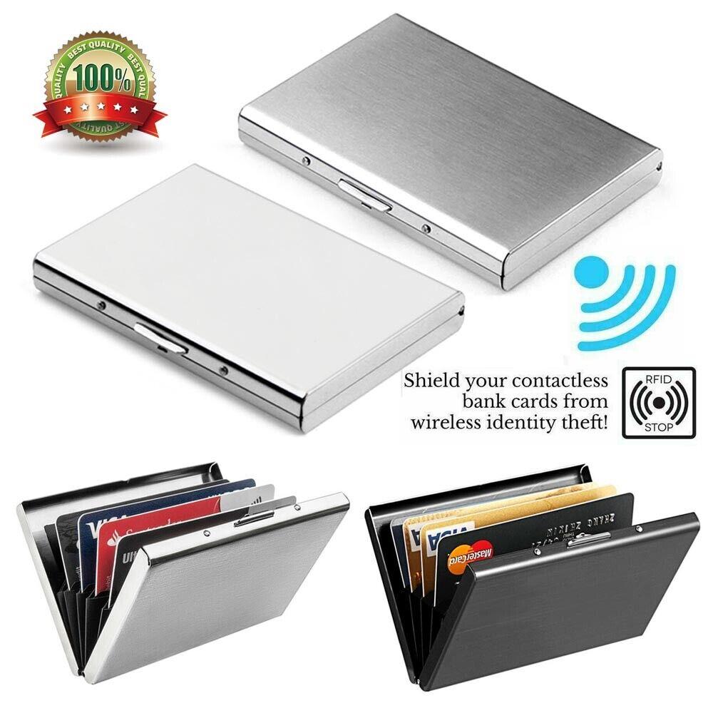 RFID Blocking Aluminum Protector Metal Wallet Credit Card Holder Thin Case & Box