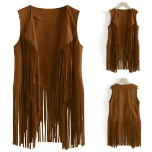 Women Autumn Winter Faux Suede Ethnic Sleeveless Tassels Fringed Vest Cardigan Coat
