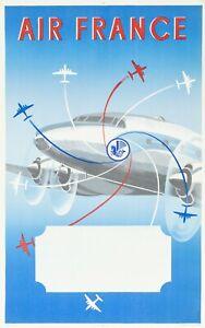 Affiche Originale - Renluc - Air France - Pegase - Crevette - Aviation - 1951