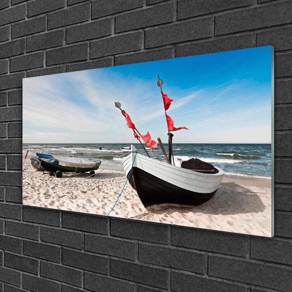 Tableau sur verre Image Impression 100x50 Paysage Bateaux Plage