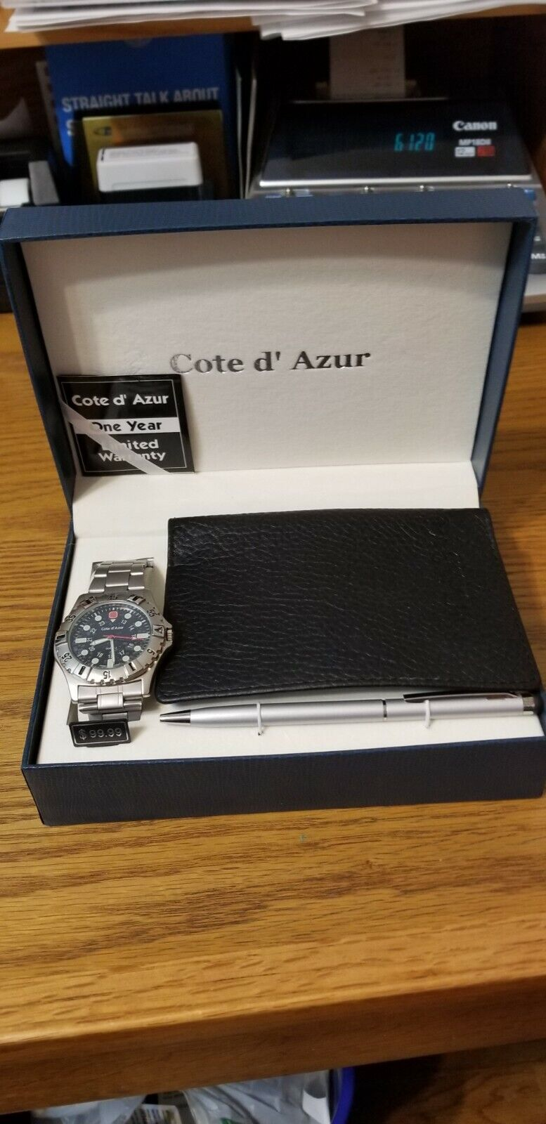 COTE D' AZURE SET OF WATCH, PEN AND PASSPORT WALLET . BRAND NEW IN BOX