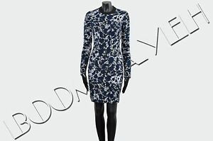 BALENCIAGA-1200-Authentic-New-Blue-Marble-Print-Fitted-Sheath-Dress-sz-34-38