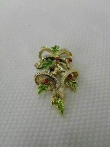 Vintage-Signed-Gerrys-Pin-Brooch-Christmas-Bell-Gold-Tone-Metal-Enamel-Holiday