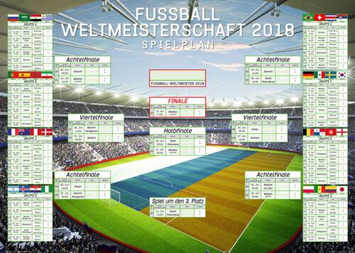Fußball - XXL WM Spielplan 2018 Weltmeisterschaft Russland - Grösse 140x100 cm