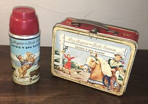 Roy Rogers and Dale Evans Double R Bar Ranch Metal Lunch Box & Thermos Lunchbox