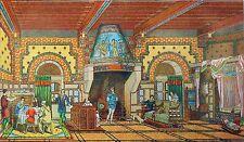 INTÉRIEUR FAMILIALE au 12eme siècle - Gravure (d'apès Viollet-le-Duc)
