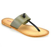 Ladies Womens New Leather Flat Summer Toe Post Flip Flop Mules Sandals Shoe Size