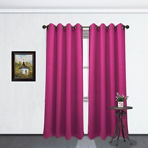 Image Is Loading Fuchsia Hot Pink Grommet Blackout Room Window Curtain
