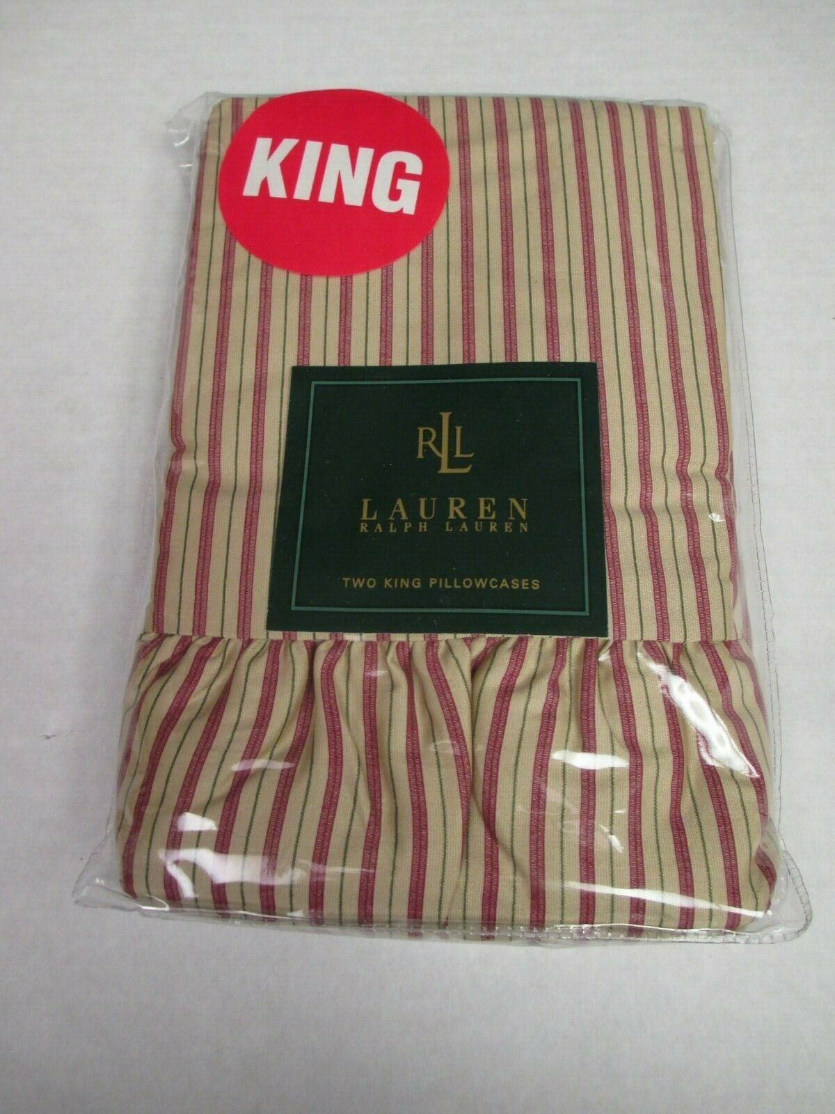 Ralph Lauren Grosvenor Square Red Tan Striped RUFFLED 2 King Pillowcases