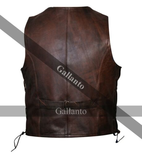 Vintage Brown Side Lace Classic Mens Motorcycle Leather Waistcoat Vest