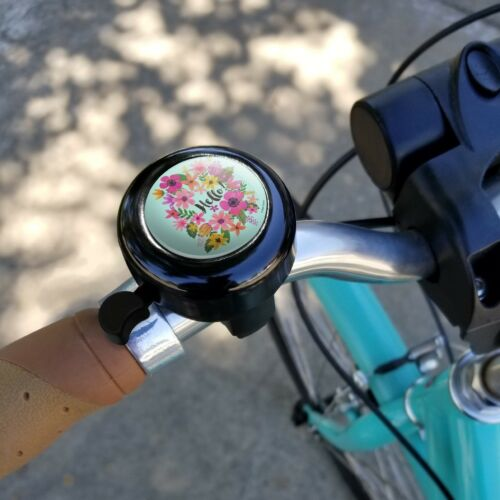 Hello with Pretty Flowers Bicycle Handlebar Bike Bell
