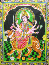 "Goddess Durga on her Vehicle Large Batik Wall Painting Hindu Gods 30""x40"" Inches"