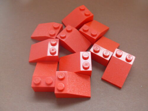 Lego 10 pieces rouges inclinees 10 red slopes 33° 2 x 3