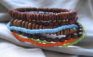 Surferarmband-Armband-Gummiarmband-orange-blau-gruen-braun-Holz-Surf-Surferstyle
