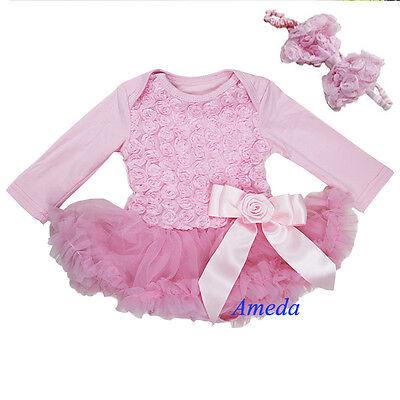 Newborn Baby Rosettes Rose Light Pink Bodysuit Romper Pettiskirt Party Dress