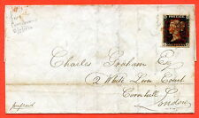 """SG. 2. """" IF """". 1d black. Plate 4. A fine used example on cover from Sunderland."""