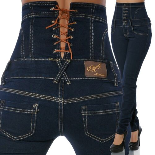 Damen Jeans Hose Hochschnitt Röhre Röhrenjeans Stretch Hoher Bund Corsage N13642