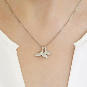 Meerjungfrau-Halskette-mit-Anhaenger-Sterling-Silber-925-Flosse-Mutter-Kind-Wal
